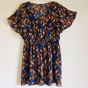 Dresses & Skirts - BIRD ANIMAL PATTERN WIDE SLEEVE MINI MIDI DRESS